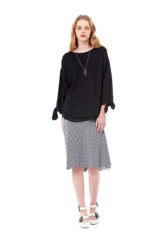 G-CUT black Checked-Paneled Skirt D3559AA2ECBF2BGS_1