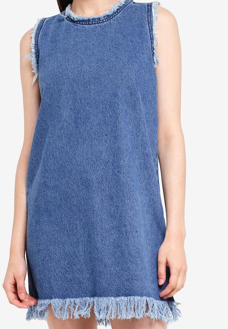 Blue Borrowed Frayed Dress Mid Sleeveless Something gqwXZvU
