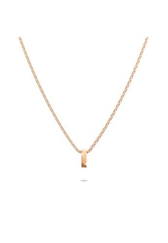 Bullion Gold gold BULLION GOLD Initials Brick Alphabet Letter Necklace Rose Gold Layered Steel Jewellery - I 57B1CACC23B775GS_1