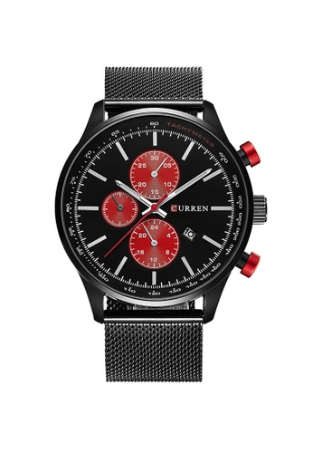curren black and red Curren 8227 Men's Date Display Stainless Steel Classic Watch(Black Red) CU537AC69TVYMY_1