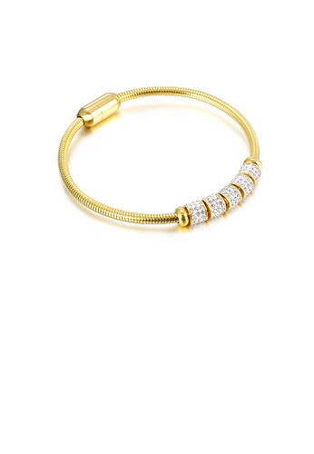 Glamorousky white Simple Temperament Plated Gold Transfer Beads Cubic Zirconia 316L Stainless Steel Bangle 3374AAC8688678GS_1