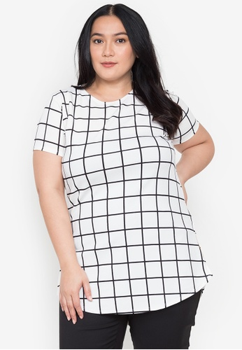 Timeless Manila white Meg Long Tee/Dress (Checkered) 956F3AA55CD589GS_1
