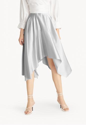 Pomelo silver Satin Asymmetric Draped Skirt - Silver 87C5BAA2F5F26AGS_1
