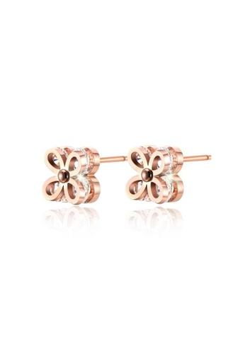 CELOVIS gold CELOVIS - Cleo Four Leaf Clover Zirocina Stud Earrings in Rose Gold 838CCACA17CB4BGS_1