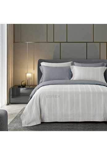 Epitex silver Epitex 1200TC TC1601-02 Silver Hybrid Botanic Silk Dobby Fitted Sheet Set EC23BHL78640E9GS_1