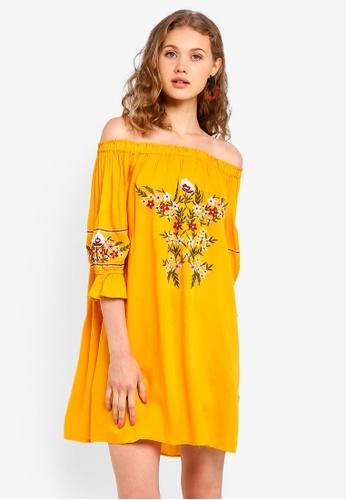 Dorothy Perkins orange Petite Ochre Bardot Dress 6499EAA1E4F08AGS_1