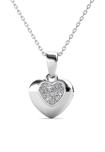 Her Jewellery silver Love Tag Pendant -  Made with premium grade crystals from Austria HE210AC0GPWNSG_1