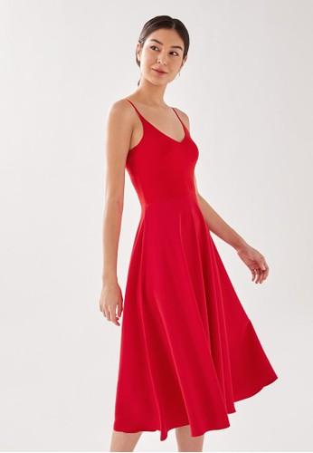 Love, Bonito red Astorie Contrast Knit and Crepe Midi Dress E3AD8AA3441557GS_1