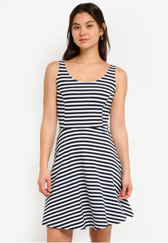 Dorothy Perkins 白色 Ivory Stripe Fit And Flare 3E7C0AA68D2406GS_1