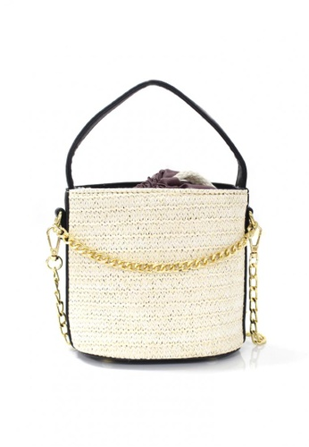 Shapes and Curves beige Bohemia Straw Bucket Beach Sling Bag 3AC20ACE46DDE3GS_1