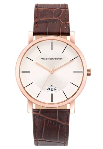 French Connection brown French Connection 44mm - Rose Gold-Tone Case, Brown Strap (FCS1019TRG) F5EB5ACCDB1B40GS_1