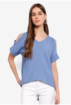 c504894c13bb ZALORA blue Short Sleeves Cold Shoulder Top 7F930AA2A91134GS_1