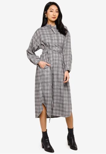 niko and ... grey Sashed Midi Shirt Dress 0FE2FAA32C162FGS_1