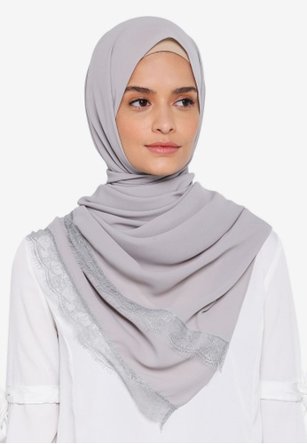 Lubna grey Silk Shawl with Lace 7BE25AA8EC23E9GS_1