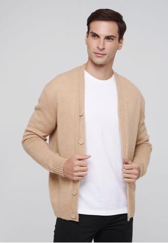 United Colors of Benetton 褐色 素色V領針織外套 579BCAAD09A70EGS_1