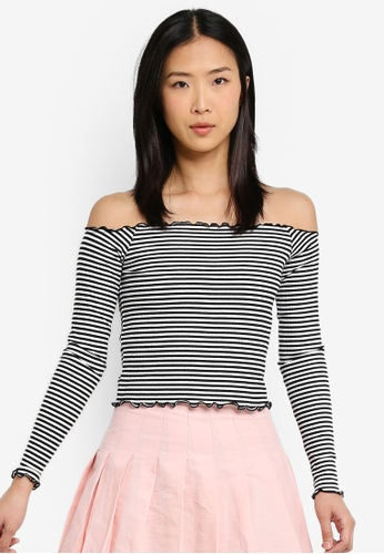 Factorie black and white Stripe Rib Off Shoulder Long Sleeve Top FB301AAF3BD8D4GS_1