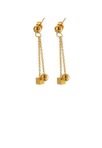 Glamorousky silver Fashion Simple Plated Gold Geometric Square Round Beads Tassel 316L Stainless Steel Earrings F474DACD5D7F0BGS_1