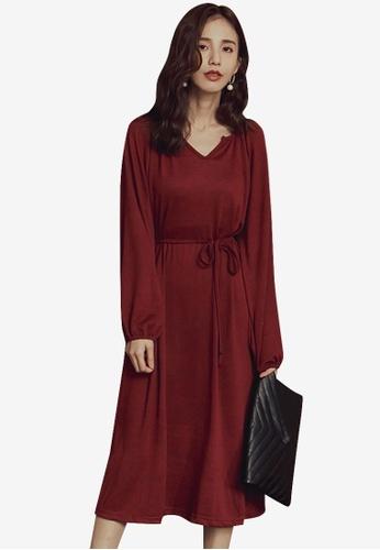 Kodz red Simple Tie-Up Full Dress 8397FAA66C67CDGS_1
