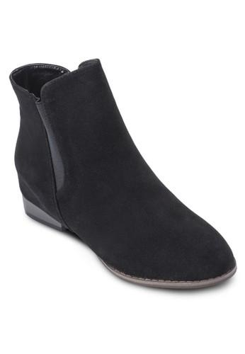麂esprit服飾皮低跟短靴, 女鞋, 鞋