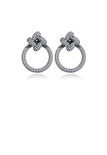 Glamorousky 白色 簡約時尚鍍黑色幾何圓圈耳釘配鋯石 7BB54ACEBB5E43GS_1