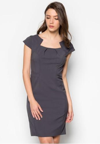 褶飾造型領連身裙, 服飾, esprit 品牌Like A Boss