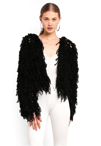 MISSGUIDED black Shaggy Knitted Cardigan B707DAAE4F0140GS_1