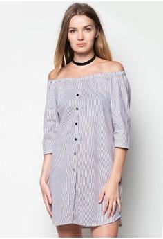 Off Shoulder Stripes Dress