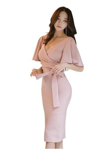 Sunnydaysweety pink Spring New V-neck Hem Sleeve One Piece Dress UA031998-0 754FAAA6B86B54GS_1