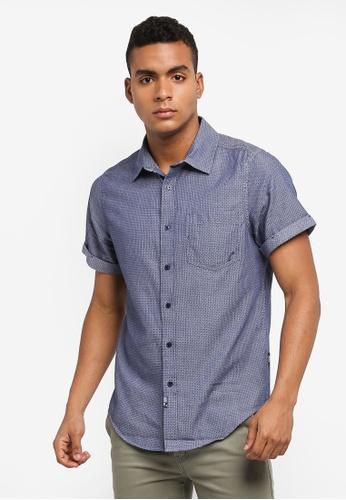 Indicode Jeans 海軍藍色 短袖印花襯衫 9AB85AAFBAFE3AGS_1