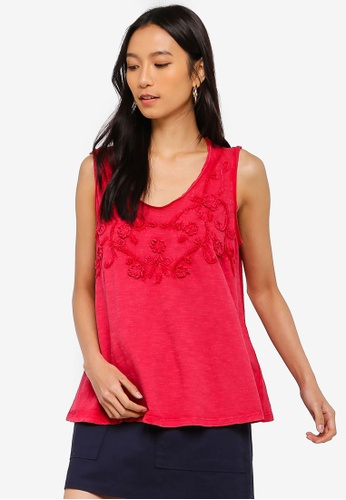Max Studio red Woven Embroidered Tank Top 9518DAA659B88EGS_1