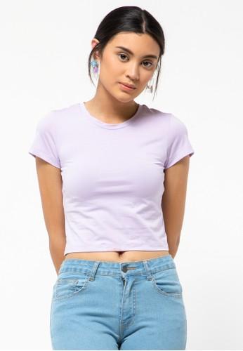 COLORBOX purple Basic Crop T-Shirt A4B69AA9E0B3B9GS_1