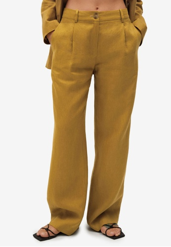 Mango brown Linen Trousers 80609AABDFBCF7GS_1
