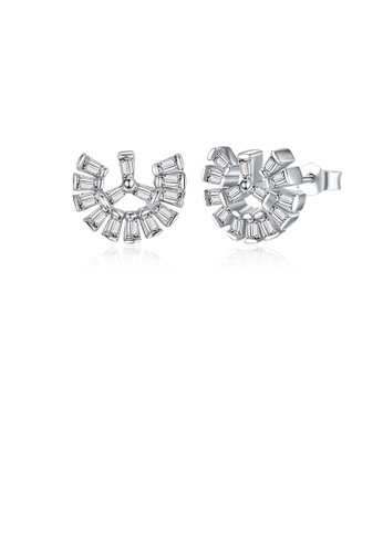 Glamorousky white 925 Sterling Silver Simple Scallop Earrings with Austrian Element Crystal EC071ACE1F87FAGS_1