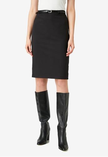 KOTON black Belt Skirt 632FEAA7449FFDGS_1