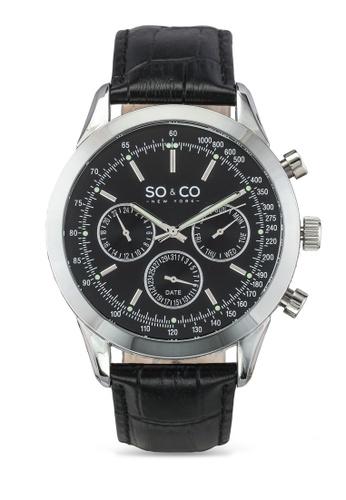 SO&CO black and silver Monticello Watch 5006Al SO540AC0SHLYMY_1