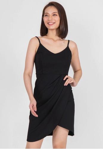 BEBEBEIGE black BEBEBEIGE V-NECKLINE SINGLE STRAP SLIM FIT MINI DINNER DRESS 2318CAA7E620D6GS_1