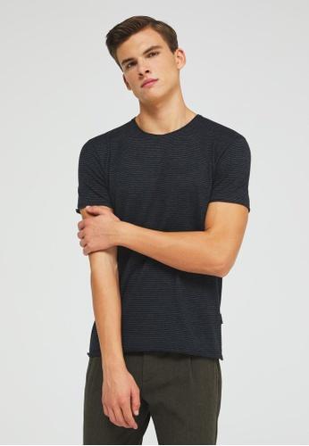 Sisley grey Striped T-shirt 85D06AA9989A80GS_1