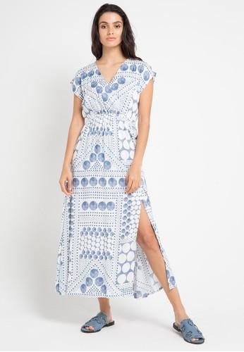 island story blue Geometric Print Maxi Dress E02D7AAF5EFB81GS_1