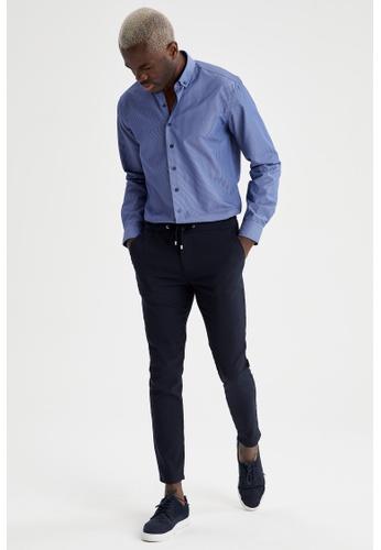 DeFacto blue Man Woven Long Sleeve Shirt A48D8AA772DF95GS_1