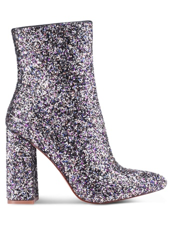 MISSGUIDED multi Flared Heel Glitter Ankle Boots 4930ESHF178EE0GS_1