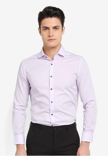 G2000 purple Pattern Cotton Long Sleeve Shirt 4C040AA7830A85GS_1