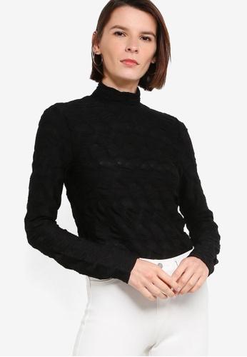 ck Calvin Klein black SMOCKED GEOMETRIC JACQUARD TOP B313DAA5252708GS_1