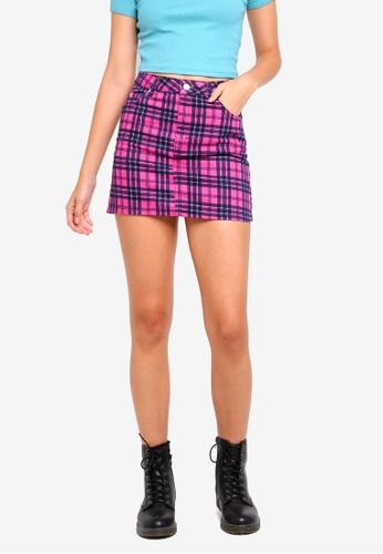 TOPSHOP 粉紅色 Pink Check Denim Skirt 3D873AACEC0B1AGS_1