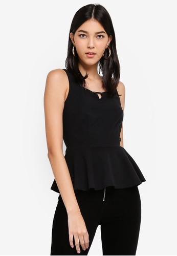 ZALORA black Notched Neck Peplum Top 8300AAA973C3D7GS_1