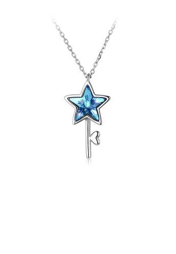 Glamorousky blue 925 Sterling Silver Elegant Fashion Star and Key Pendant and Necklace with Blue Austrian Element Crystal 209DEACF573FF0GS_1