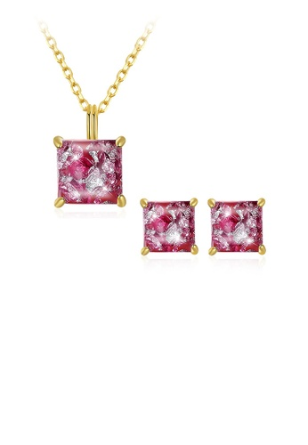 Glamorousky pink 925 Sterling Silver Gold Plated Elegant Fashion Square Pendant Necklace and Earrings Set with Pink Austrian Element Crystal F33B2AC40F6229GS_1