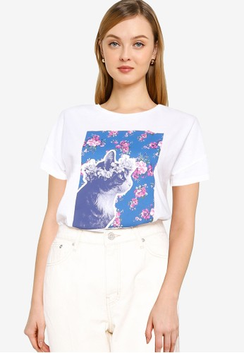 Springfield white Floral Graphic T-Shirt AA63DAACACAA96GS_1