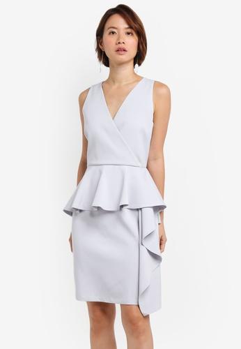 ZALORA grey Cascade Peplum Dress With Belt 128F0AA62F7387GS_1