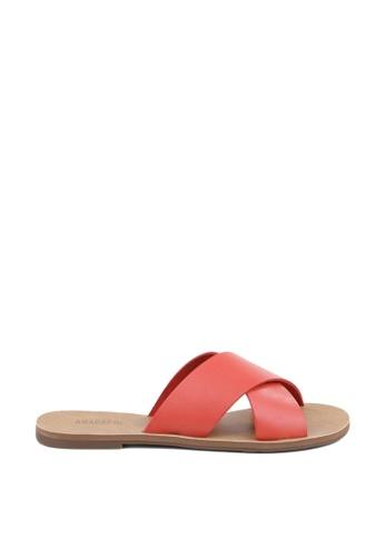 Anacapri red Cross Flat Sandals 870ABSHA0AED0FGS_1