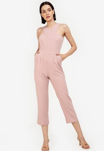 ZALORA WORK pink Cross Front Jumpsuit 80B75AA2A4405EGS_1